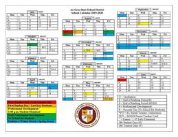 2019-2020 Au Gres-Sims School Calendar Approved