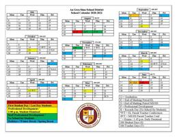 Au Gres-Sims School District 2020-21 School Year Calendar