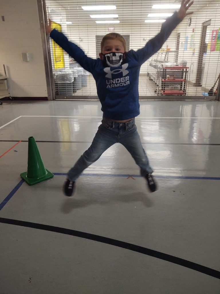 Today was our first day of indoor PE, due to on and off rain. I think we had a blast trying out new activities. Check out this kiddos star jump... He nailed it!
