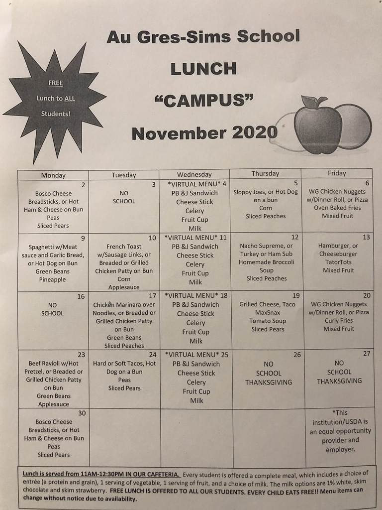 Campus November Menus