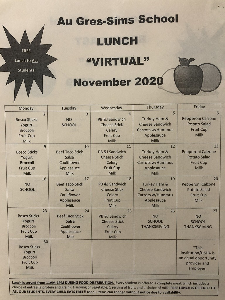 Virtual November Menus