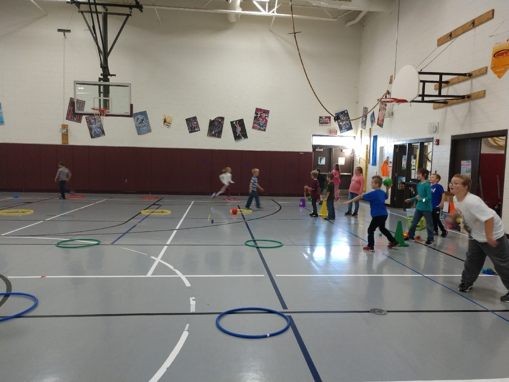 "2nd graders for to join the fun and play the new throwing and catching game ""collect the treasure"""