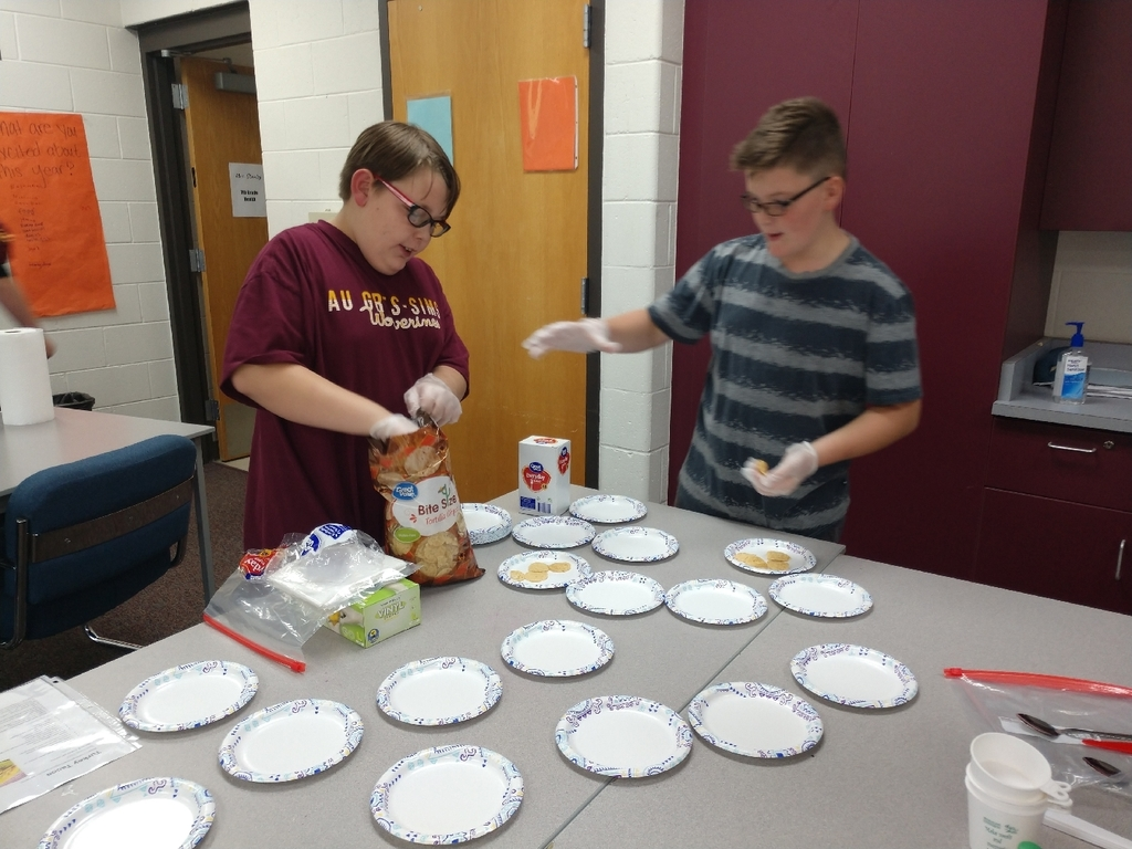 Today 7th graders learned about healthy food substitutions in recipes while making nutritions Nacho's.