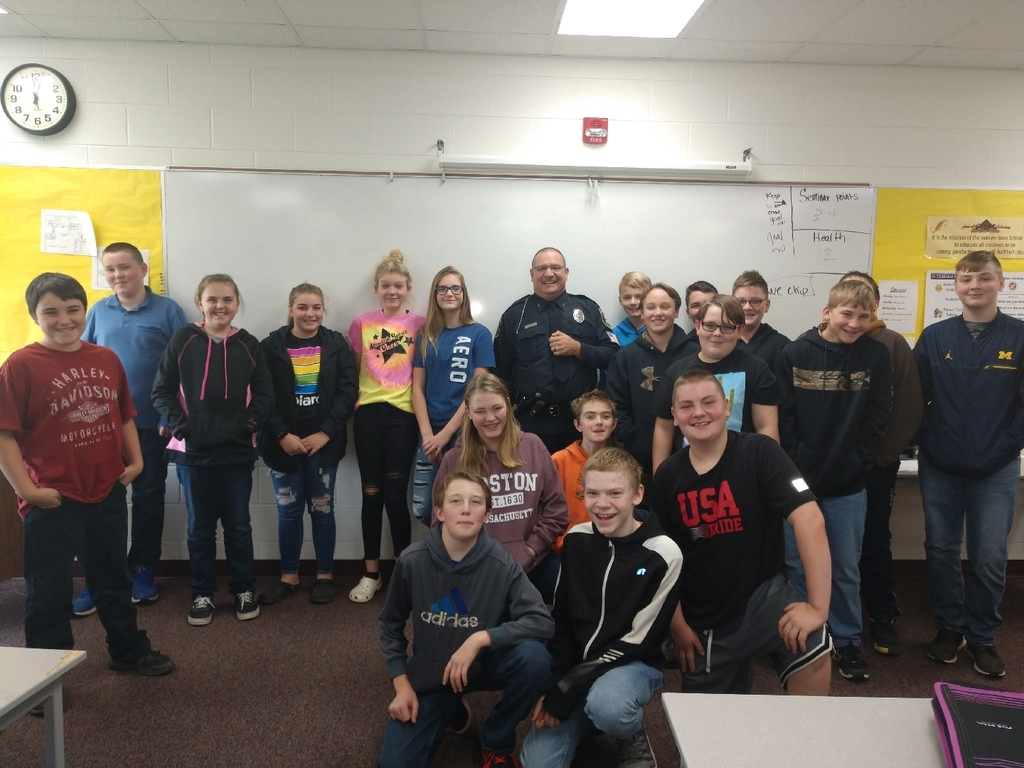Thank you to Chief Overstreet for coming in and speaking to the 7th grade health class about the dangers of drugs, alcohol, and vaping today.