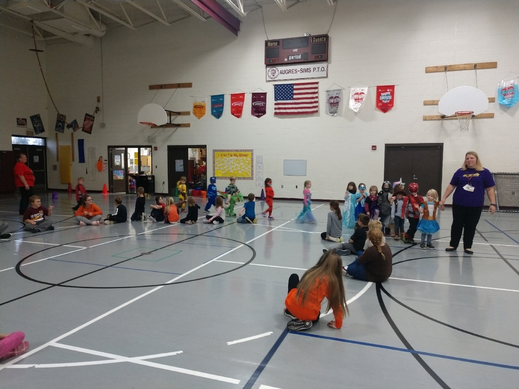 The preschool students paraded through PE today!