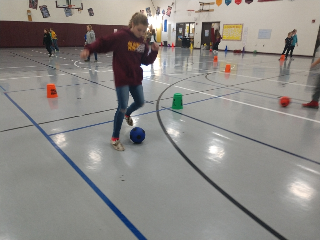 Students have been working on soccer skills in PE!