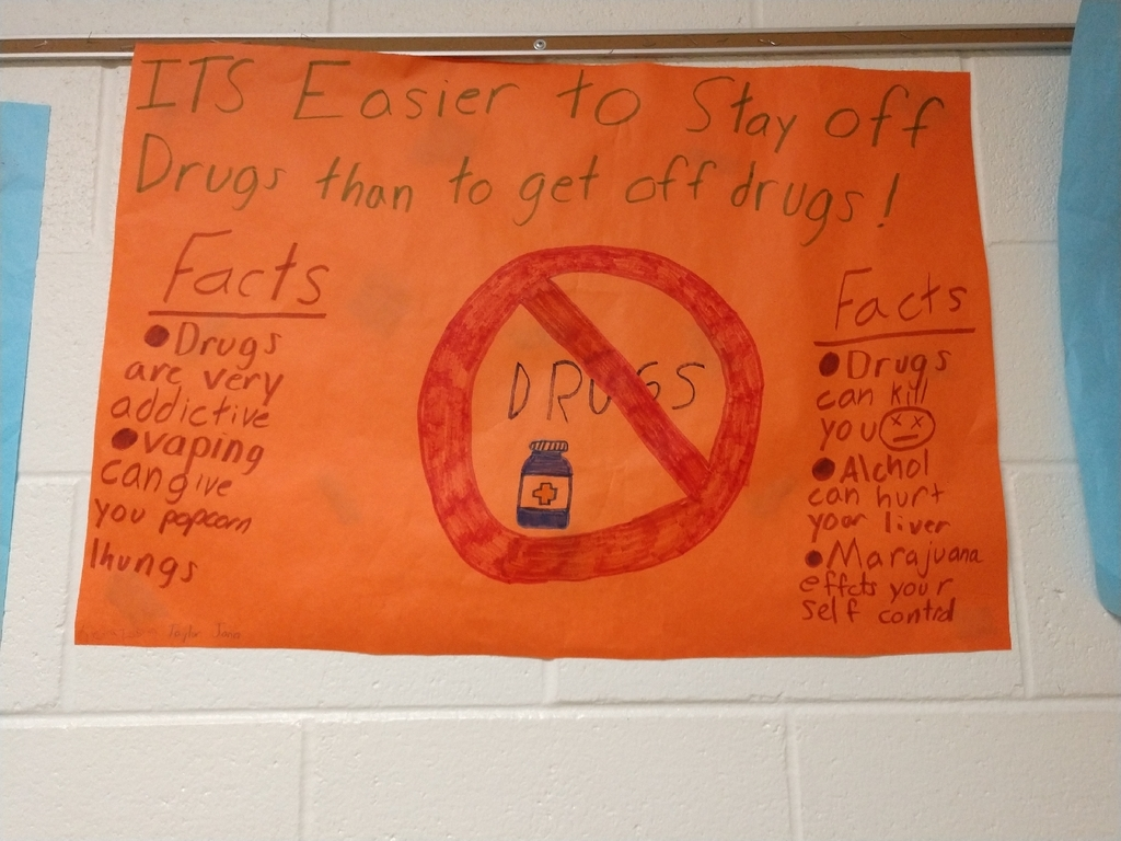 One of the awesome anti drug posters the 7th grade students in Mrs. Stanley health class!