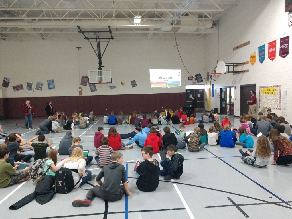 Middle school students competed with their houses in a friendly game if kahoot this afternoon. Students answered science, social studies, and english questions reviewing academic content while trying to earn tokens for their house.