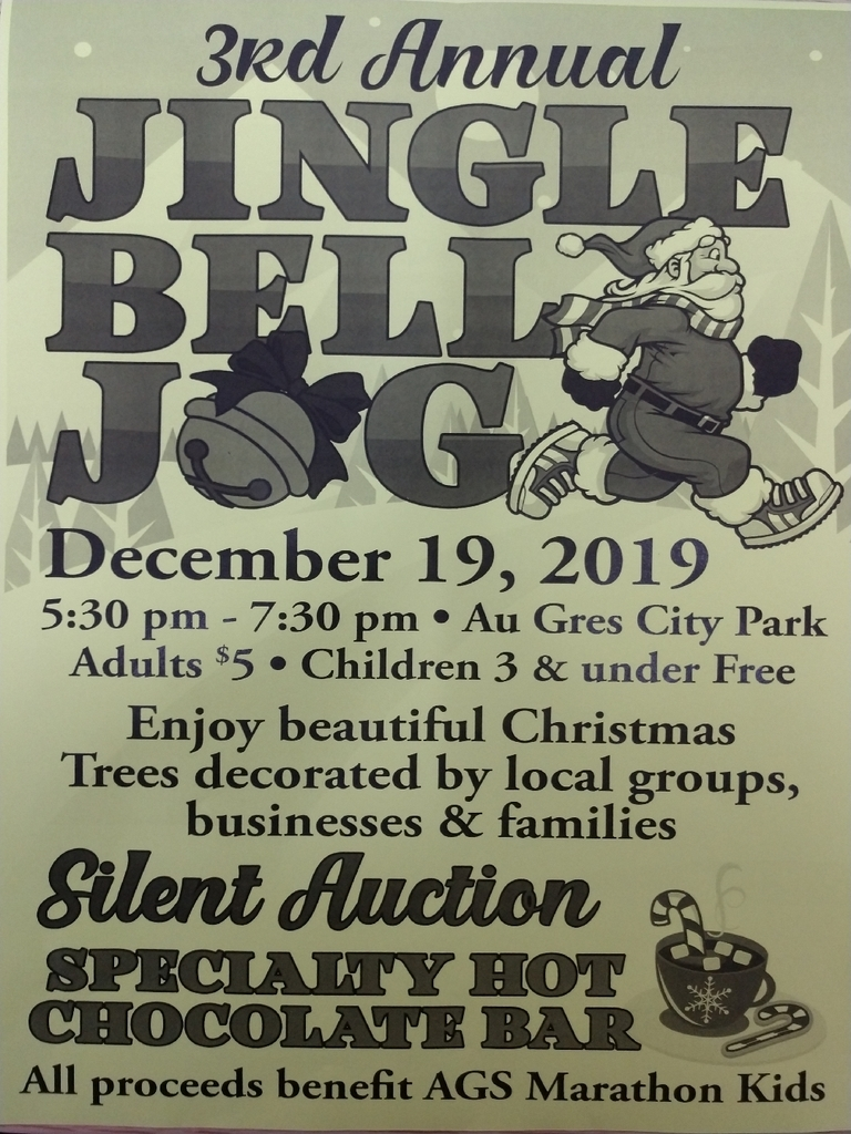 Mark your calendars, AGS Marathon Kids is hosting it's 3rd annual Jingle Bell Jog December 19th. Come join the fun!