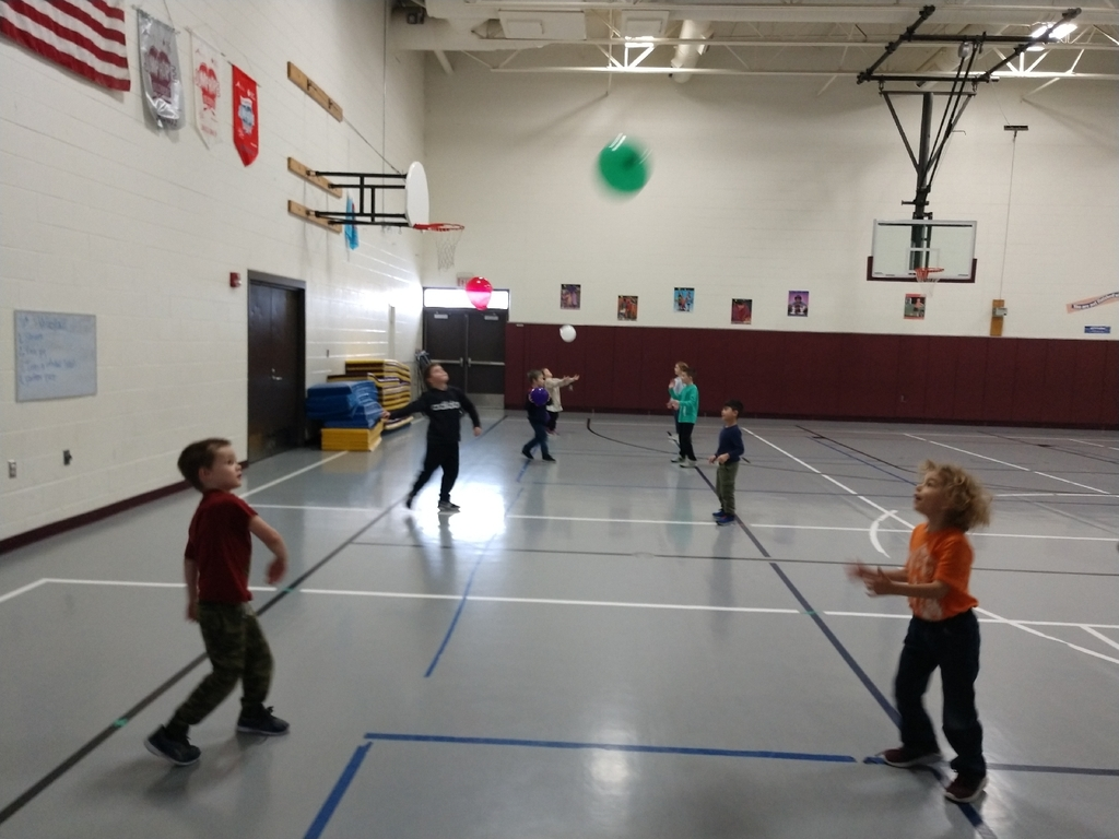 K, 1st, and 2nd grade have been working on their volleyball skills too!