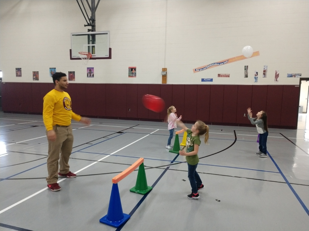 The kindergartners enjoyed having a high school peer participate in PE with them today!