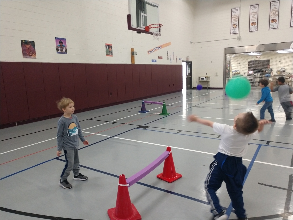 kindergarten is learning how to volley in PE