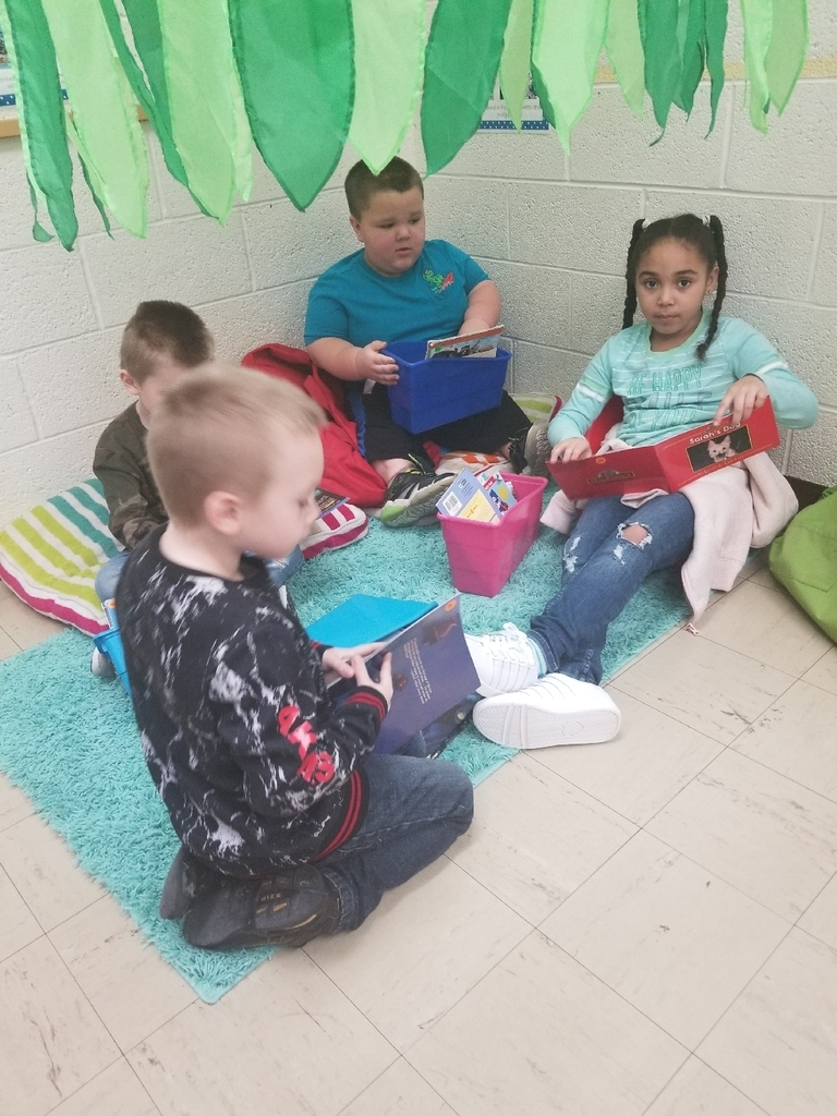Reading independently in first grade the other day! #wolverineslead