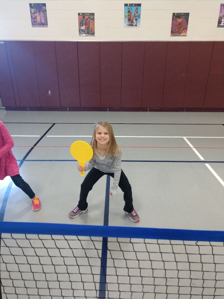 First graders worked on being in the ready/athletic position today while playing badminton.
