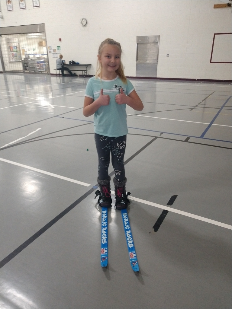 Day 1 of cross country skiing in PE with Mrs. Stanley...K, 1st, and 2nd watched a short video about cross country skiing and everyone  was able to get their skis on and take them off today!