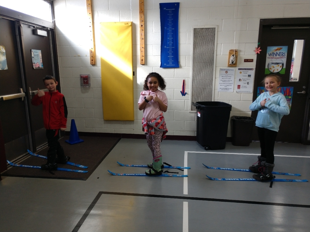 In PE with Mrs. Stanley today students practiced putting their skis on and taking them off, side stepping, turning, getting up, and lining up. Remember we will be going outside to ski and students need snow boots, snow pants, jackets, gloves, and hats.