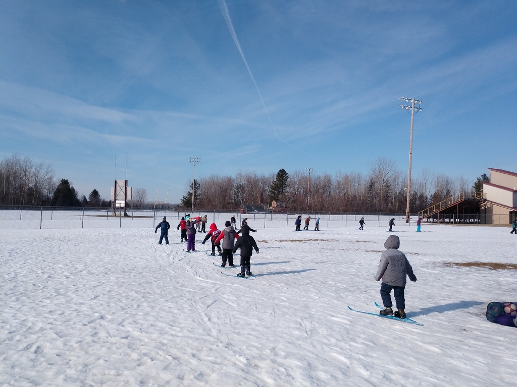 What a great day to be a wolverine! ❤️ 3rd-5th graders were able to go outside and enjoy the nice weather  cross country skiing this morning with Mrs. Stanley!🎿🌞