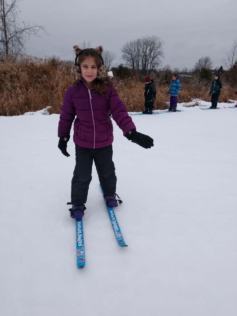 1st and 2nd graders were able to go outside and enjoy the nice weather skiing today!