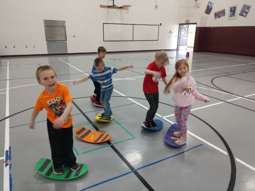 When you can't get outside to work on balance skiing, you do fun balance stations in the gym!