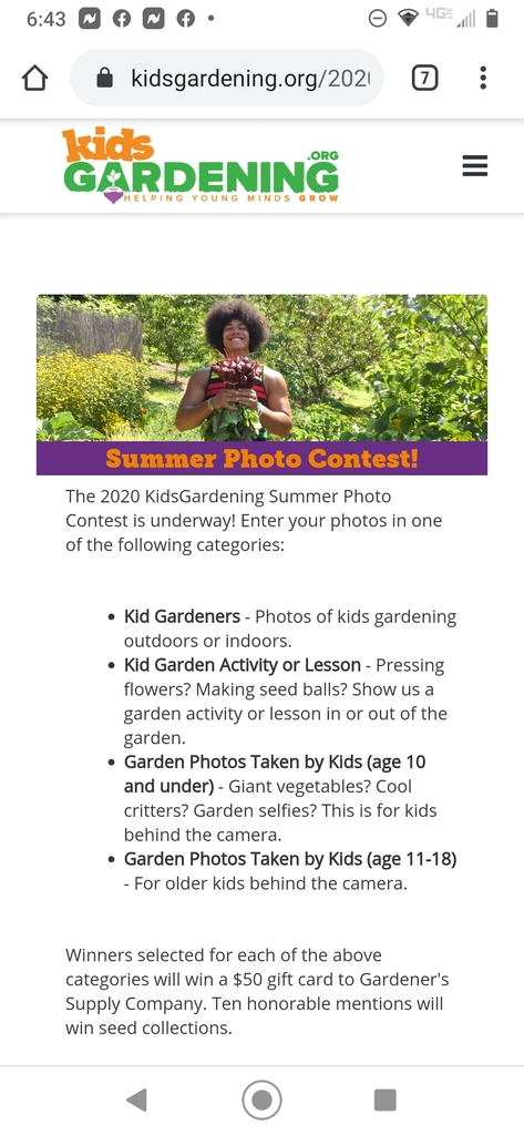 Have you and your kids been working really hard in the garden this summer? Check out this Kids Summer Photo Contest! Go to kids gardening.org for more details.
