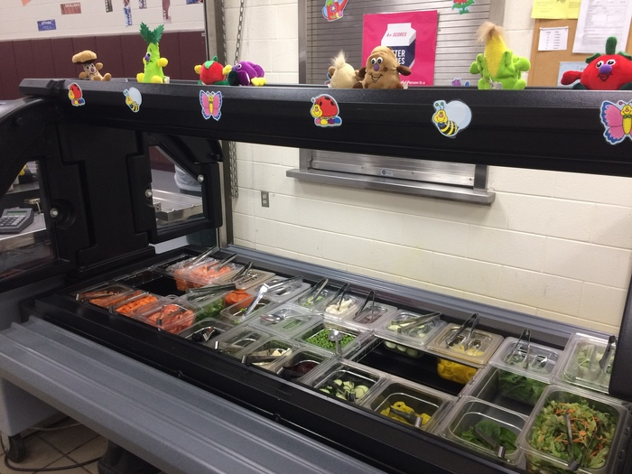 The new salad bar!! Making it more accessible for students to get fresh fruits and vegetables